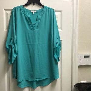 Aqua blouse 2x